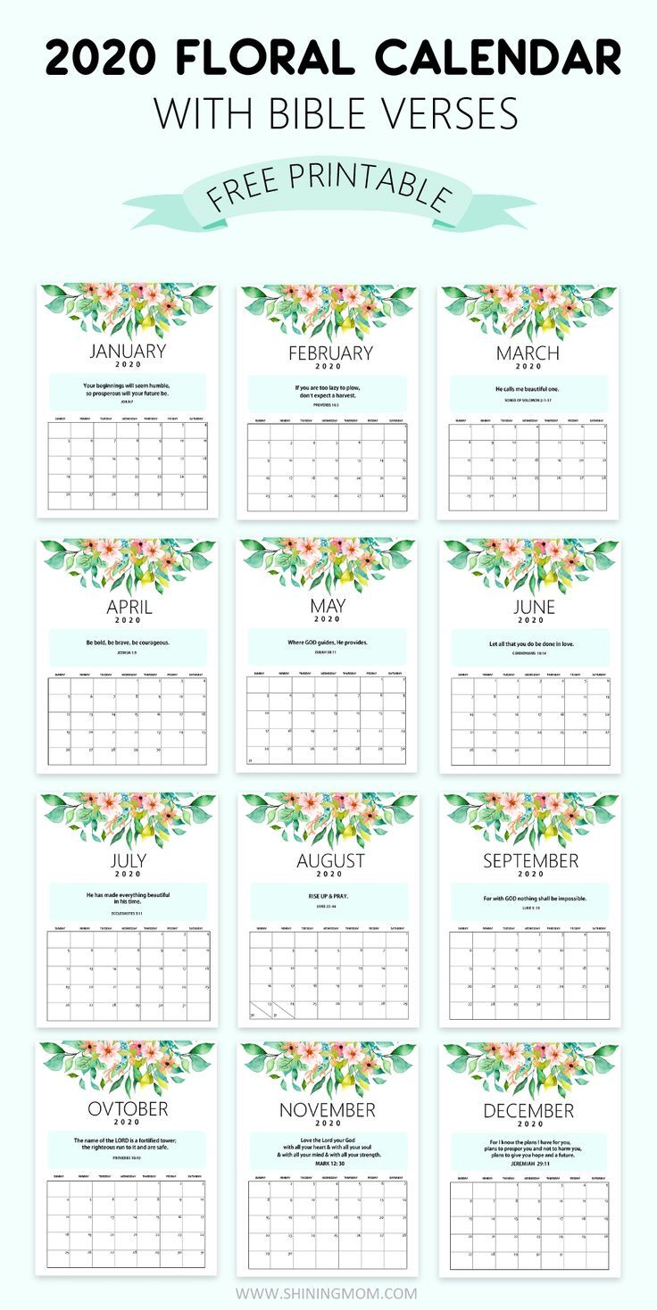 FREE 2020 Desk Calendar Printable with Bible Verses to Inspire You!