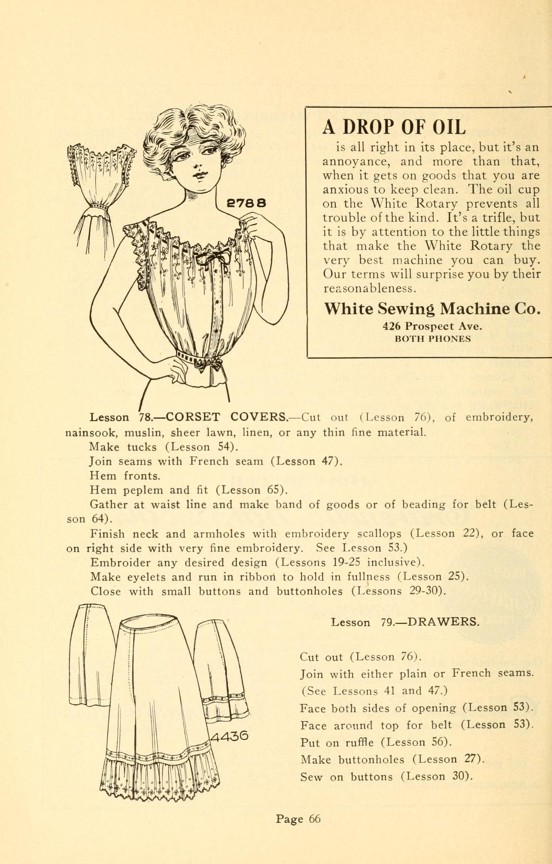 1912 Coates sewing and dress making manual -- corset covers and drawers
