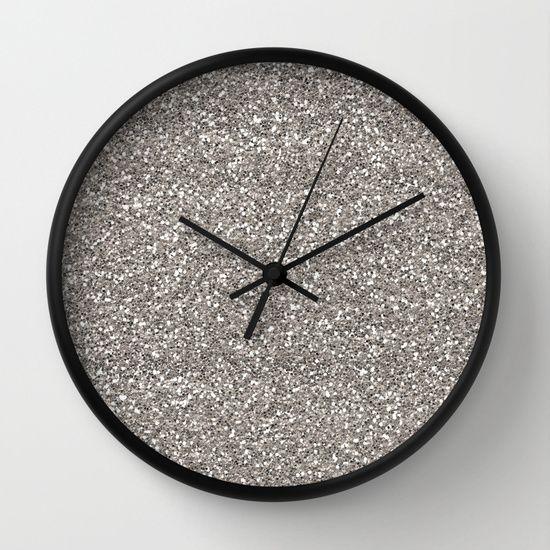 Wall Clock Home Decor Glitter Shiny Grey Gray White