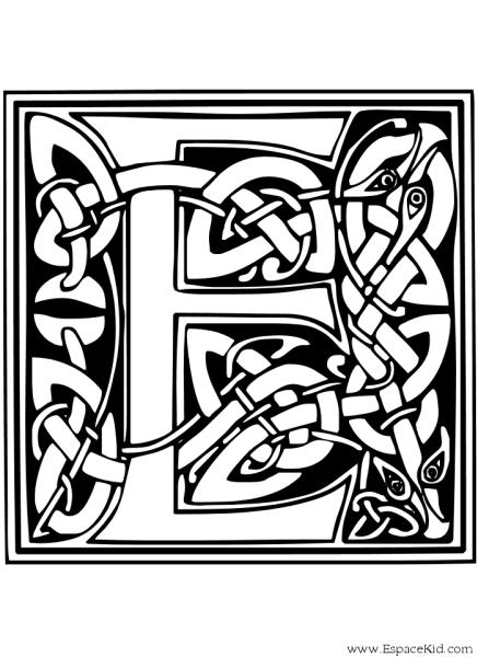 1937 Coloriage Lettre E 1 écriture Celtique Ecriture