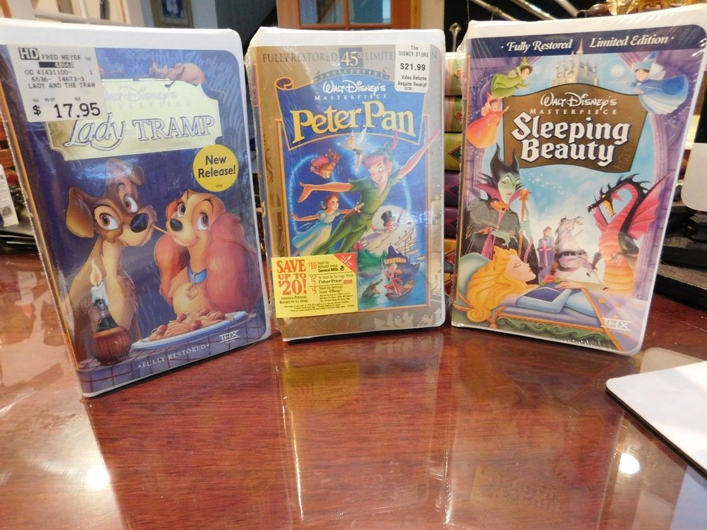 Lot Of 3 Walt Disney Vhs Tapes Sealed Sleeping Beauty Peter Pan Lady The Tramp Disney Vhs Tapes Lady And The Tramp Peter Pan