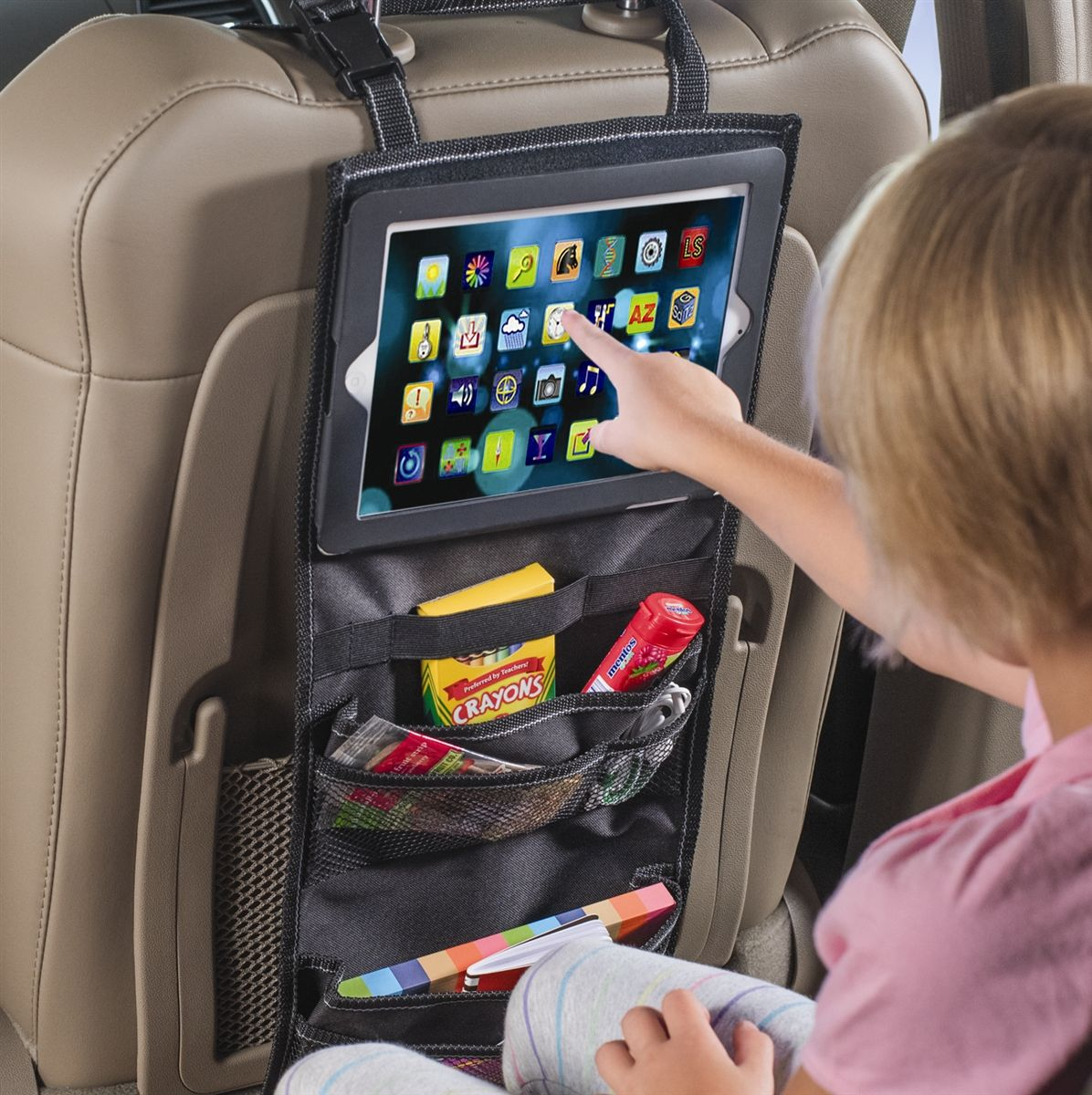 high road seatback car organizer with ipad and tablet holder for cars