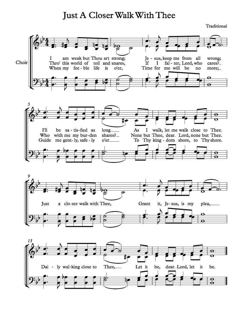 free choir sheet music just a closer walk with thee free sheet music pinterest choir. Black Bedroom Furniture Sets. Home Design Ideas