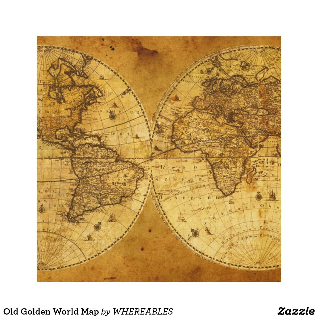 Old Golden World Map Wood Wall Decor | Fine arts | Pinterest | Wood ...