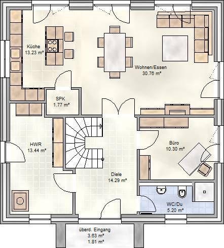 Art 155 mediterraner stadtvilla grundriss mit ber 150 for Grundriss einfamilienhaus 100 qm