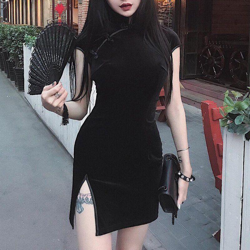 Women's Slit Cheongsam Velvet Sneath Dresses Women