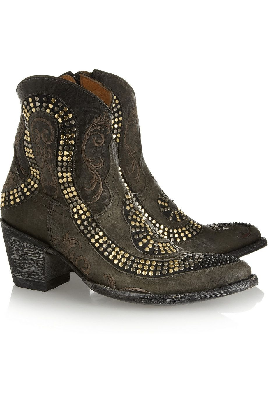 selezione premium f5778 5625a Mexicana   Snake studded distressed leather ankle boots ...