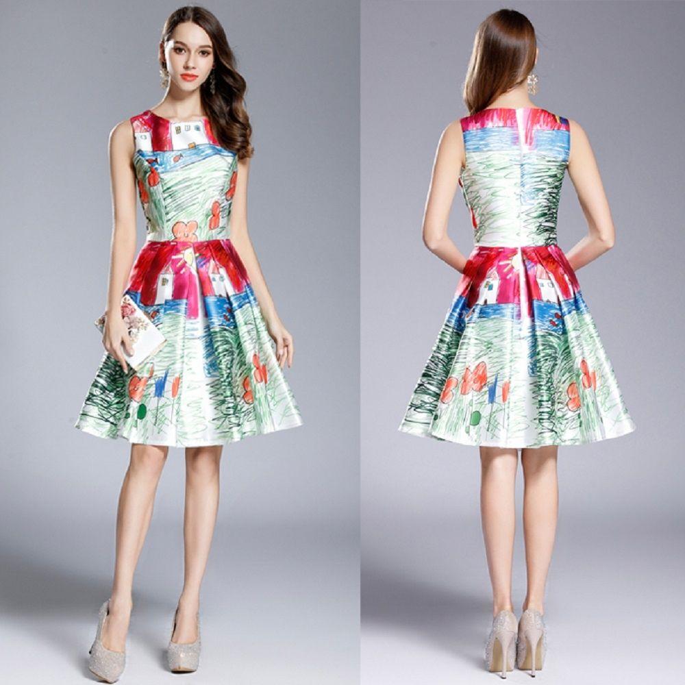 B new cute printed girl sleeveless prom evening ball formal