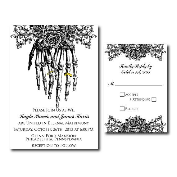 Skeleton Hands Wedding Invitation Set Printable By Kindlyspoken 40 00 Skull Wedding Invitation Gothic Wedding Invitations Wedding Invitation Sets