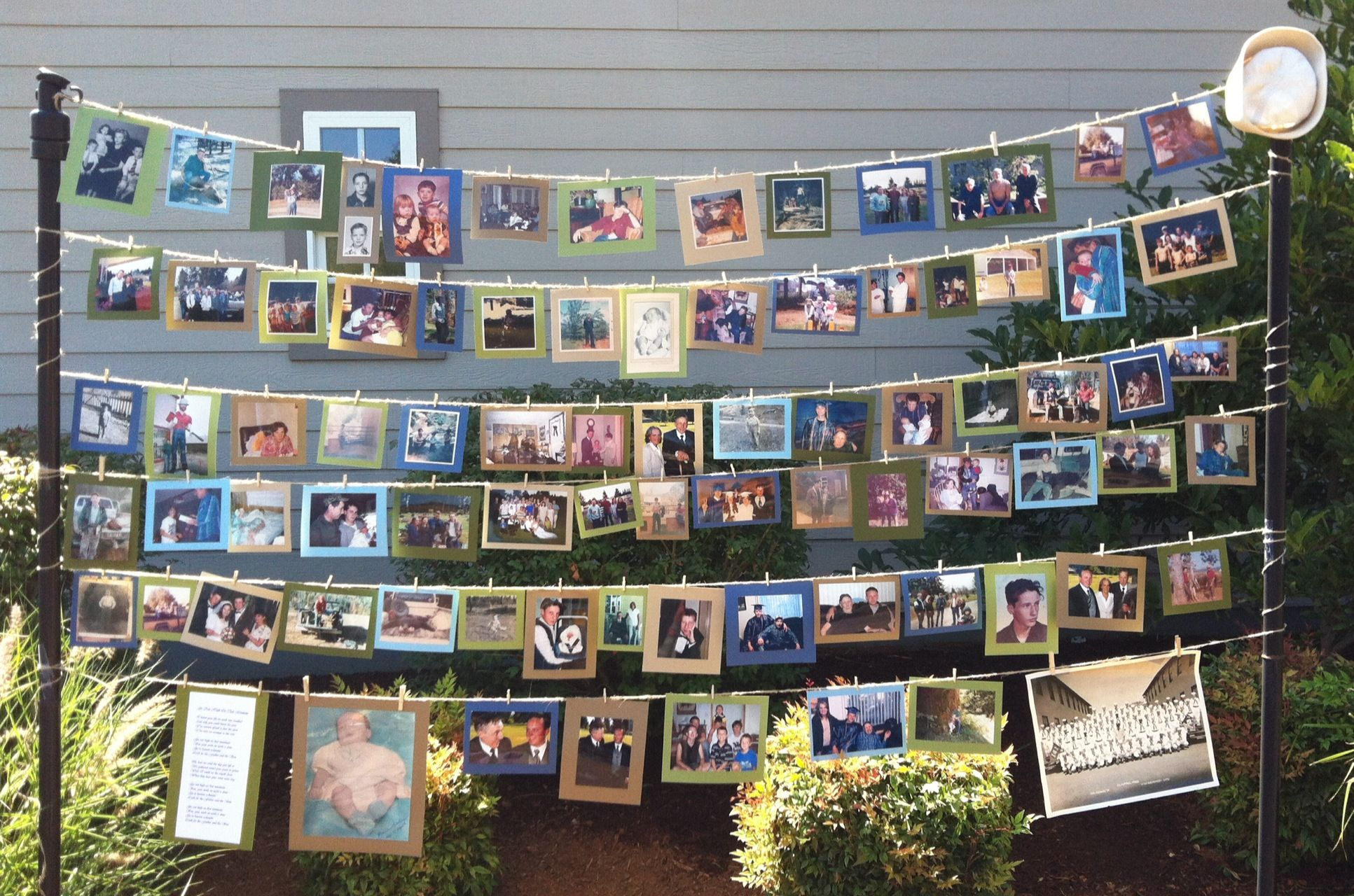 Memorial service photo display to be made into scrapbook after