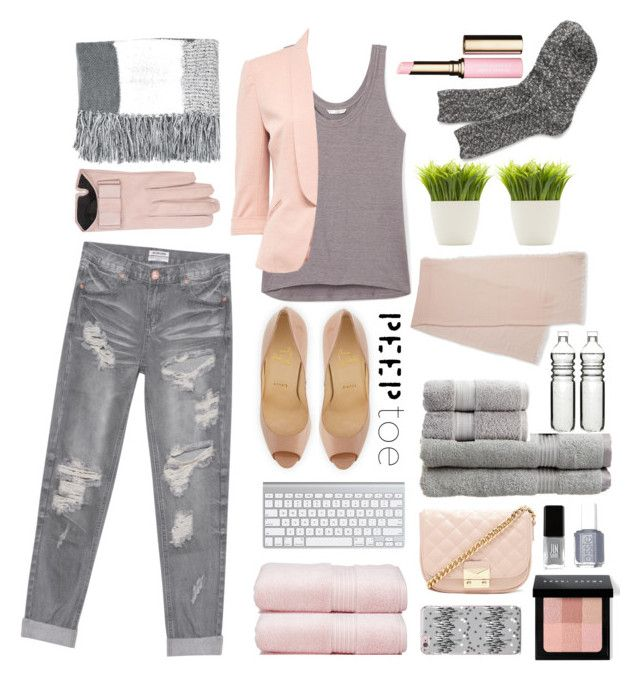 """""""Pink and Gray"""" by obrookebanks ❤ liked on Polyvore featuring Christian Louboutin, Rebecca Minkoff, One Teaspoon, Mario Portolano, Lord & Taylor, Topshop, Dot & Bo, Superior, Christy and Bobbi Brown Cosmetics"""