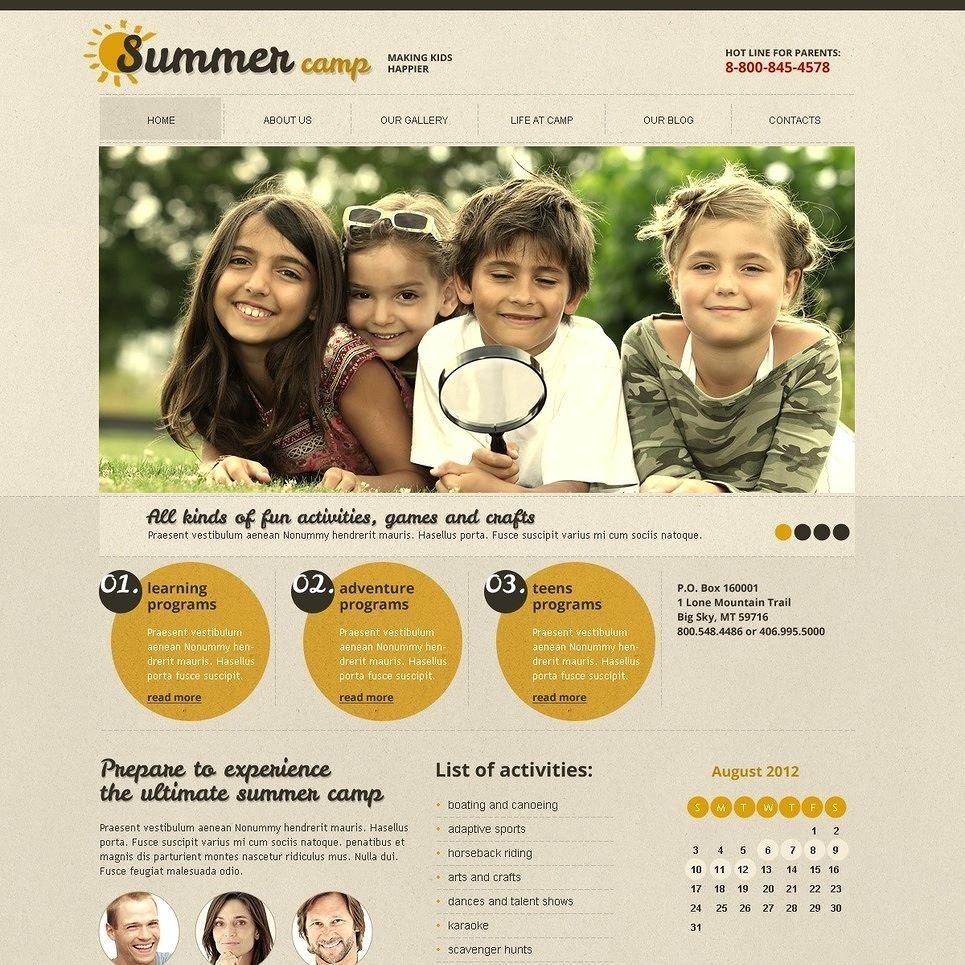 Summer Camp Joomla Template CLICK HERE Live Demo