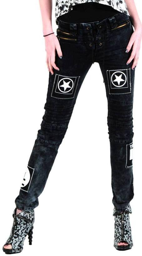 Too Fast Distressed Moto Pants