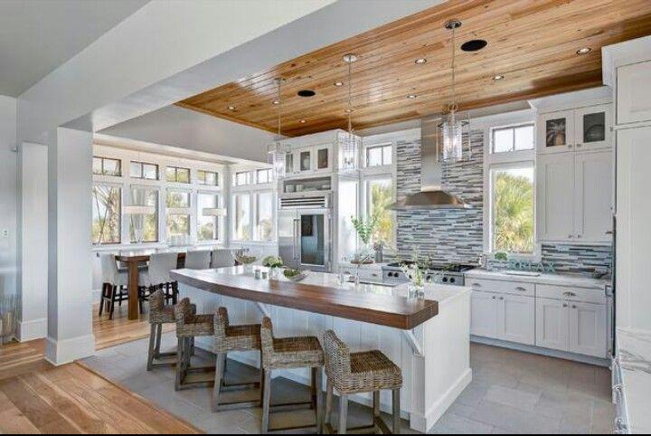 Wood Plank Ceiling Bar Stools White Kitchen Modern Design Custom Cabinets Backsplash Coastal Kitchen Design Beach House Kitchens Contemporary Kitchen