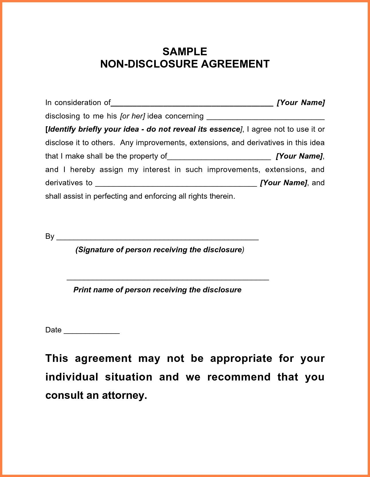 Basic Non Disclosure Agreement Emmamcintyrephotography With Standard Confidentiality Agreement Template 10 Non Disclosure Agreement Contract Template Words