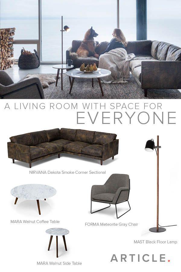 Dark Brown Leather Corner Sectional   Article Nirvana Modern Furniture