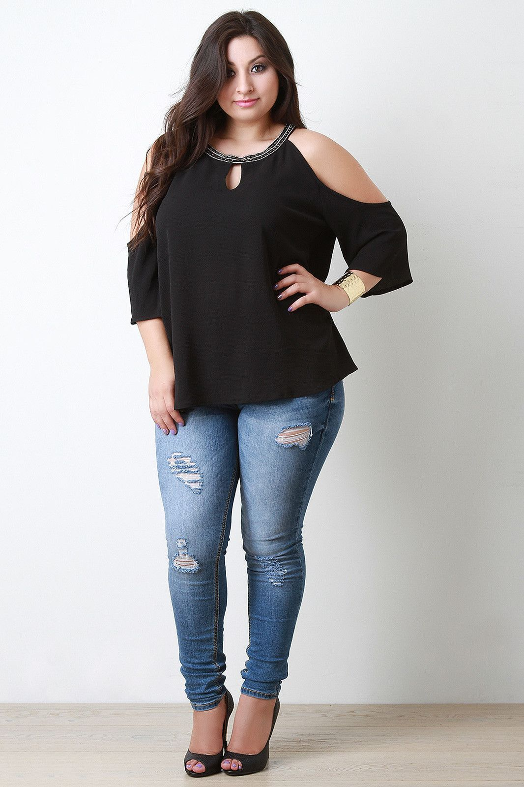 Beaded neckline cold shoulder blouse chubby ootd pinterest