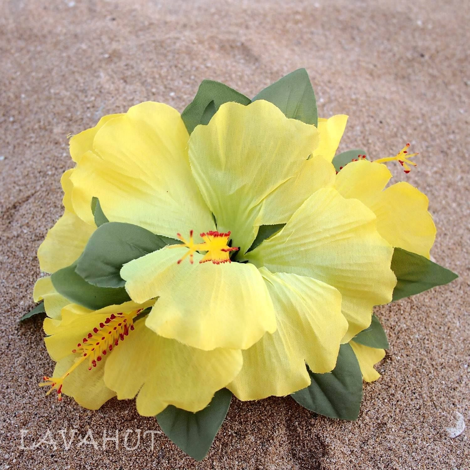 Hibiscus Yellow Hawaiian Flower Hair Clip Products Hair Clips And