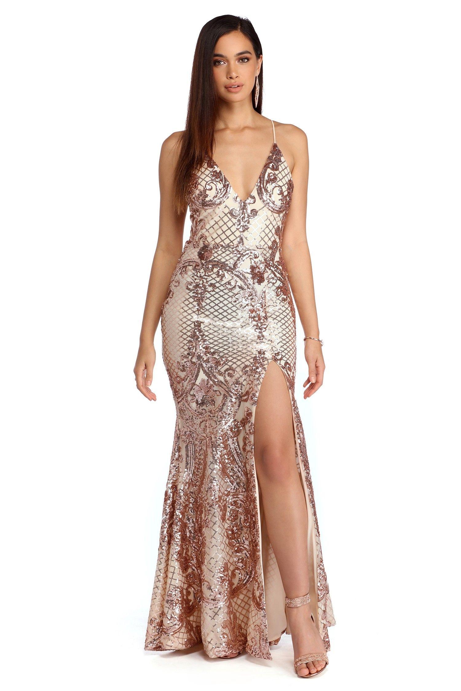 b184c6acab2 FINAL SALE -Imani Rose Gold Sequin Dress in 2019