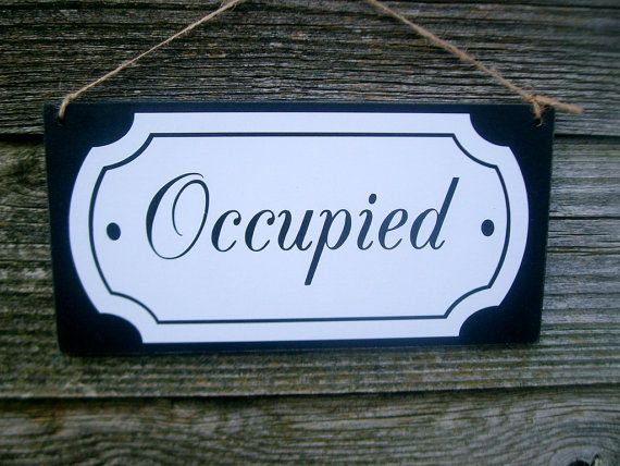 Bathroom Door Signs Vacant occupied / vacant double sided bathroom door sign. ( toilet sign