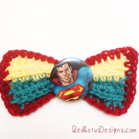 This kawaii crochet hair bow features Superman!  Bow is made out of acrylic yarn and has a 2.25 button.  Comes with a secure hair clip. @Tina Mitchell