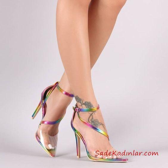 aa778979f78cb Yazlık Topuklu Ayakkabı Modelleri Gökkuşağı Renkli Önü Şeffaf Detaylı  Bilekten Tokalı #shoes #stiletto