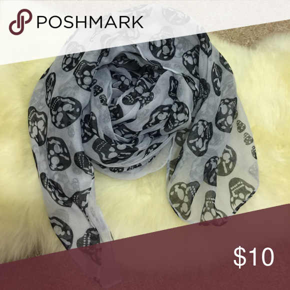 Gray skull scarf Bought from Nordstrom 2 years ago but haven't worn much. Good condition! bp Accessories Scarves & Wraps