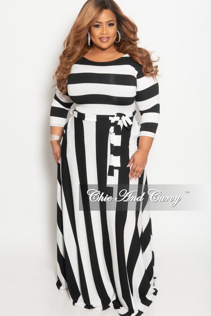 fe48798fd86f Plus Size Stripe Long Dress with 3 4 Sleeves and Attached Tie – Chic And  Curvy