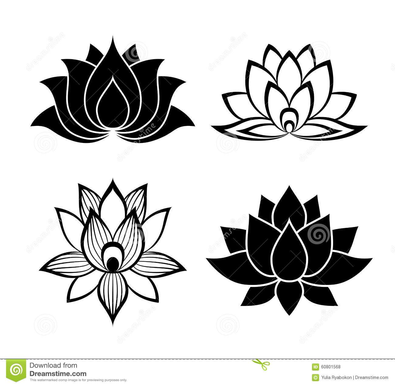Sinais Da Flor De Lotus Ajustados Ilustração do Vetor