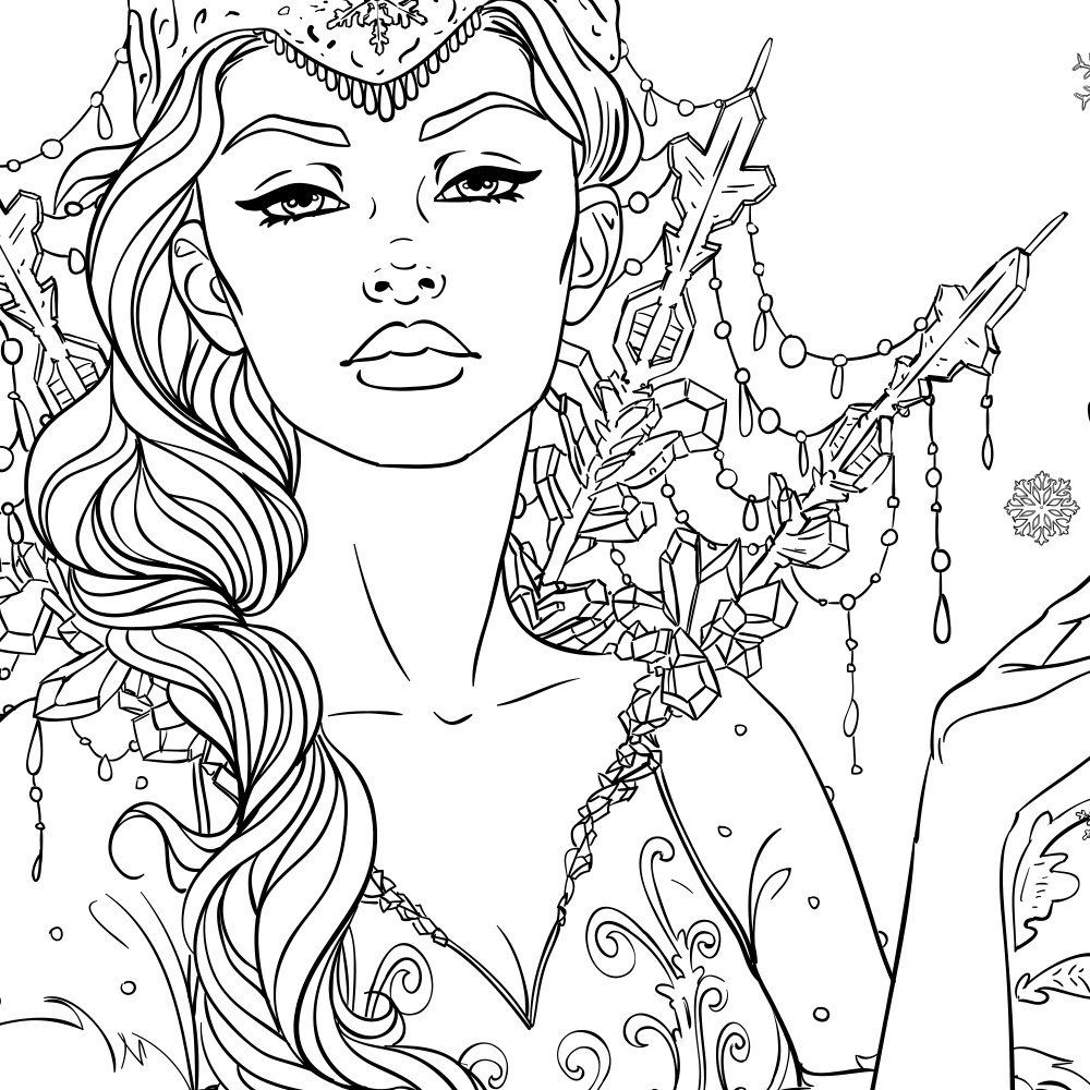 Snow Queen Adult Coloring Page Fantasy Line Art Coloring Pages