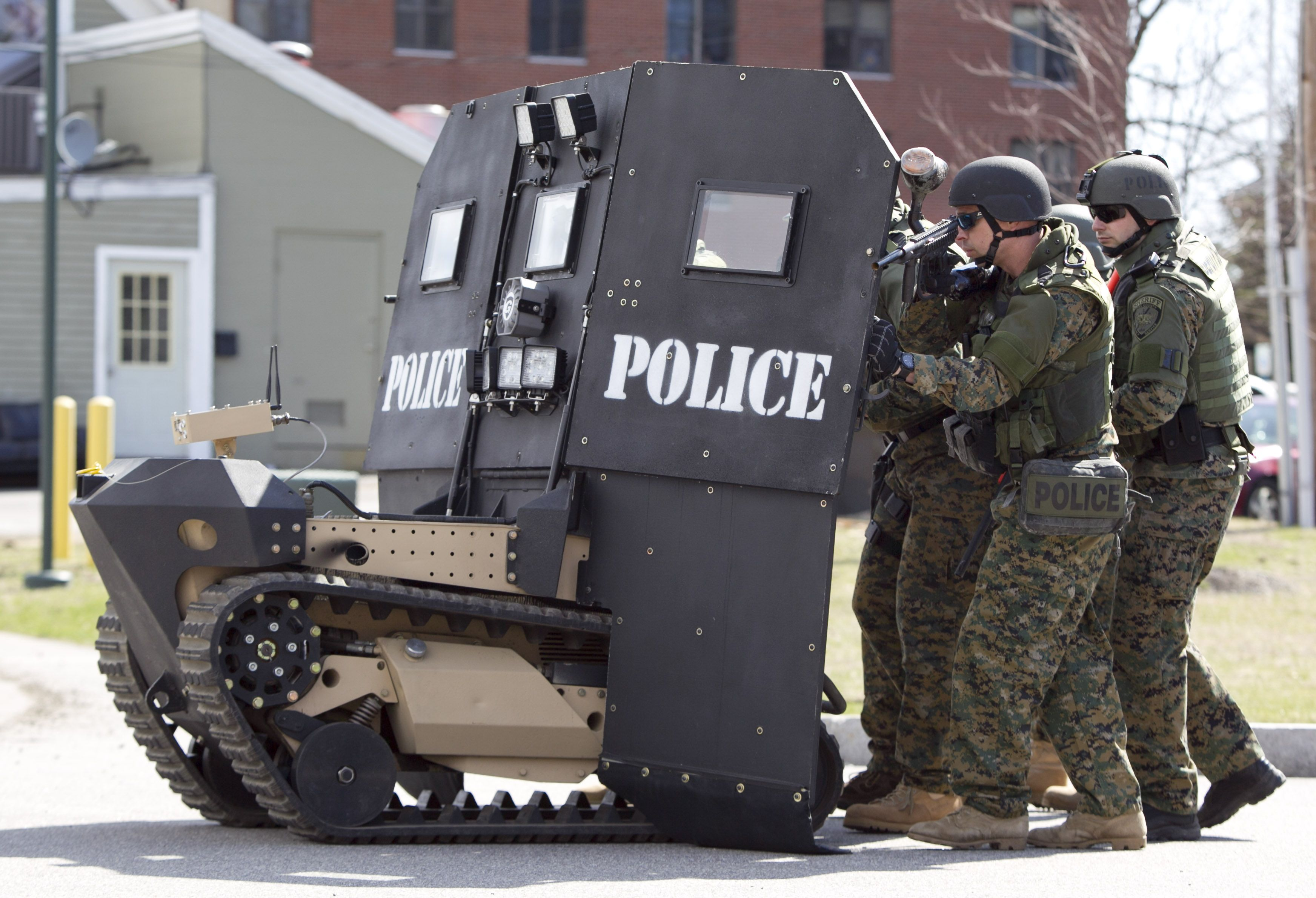 Should law enforcement use military vehicles and equipment with the ...