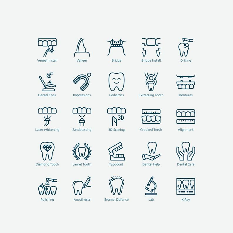 Dental Icons In Vector And Png Etsy In 2021 Icon Dental Tooth Icon
