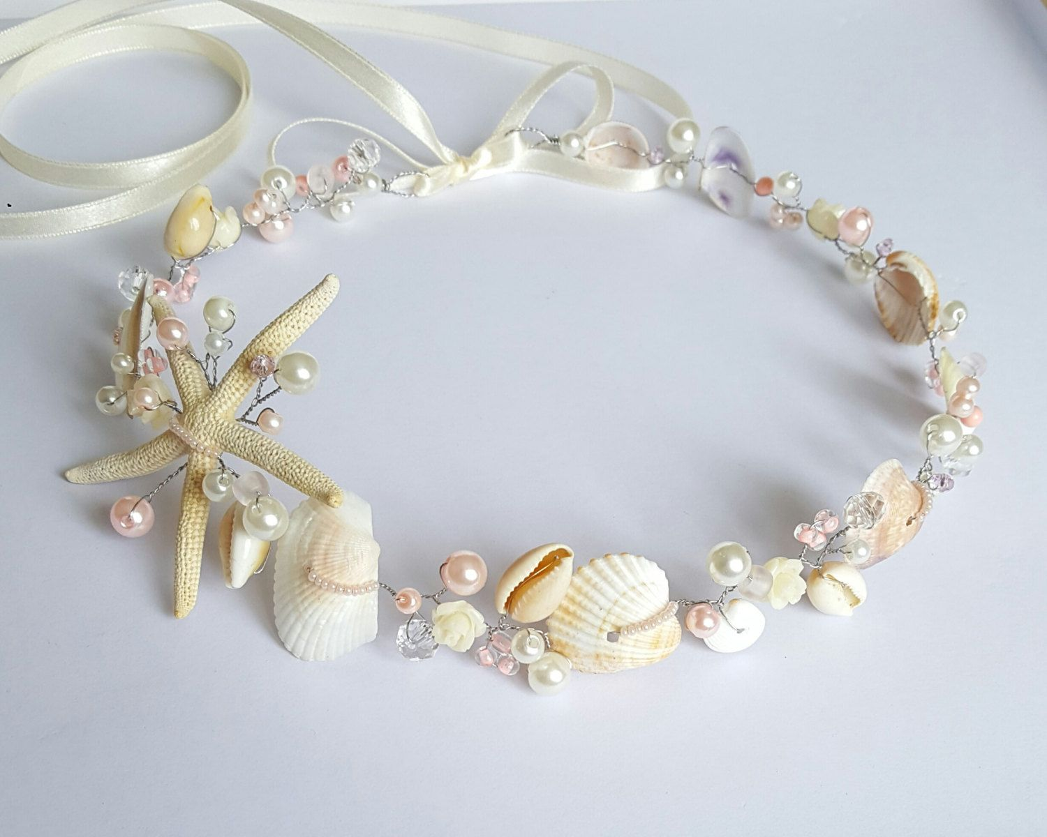 Beach Bridal Hairpiece,Wedding SeaShell Headpiece,Pearls Halo Bride ...