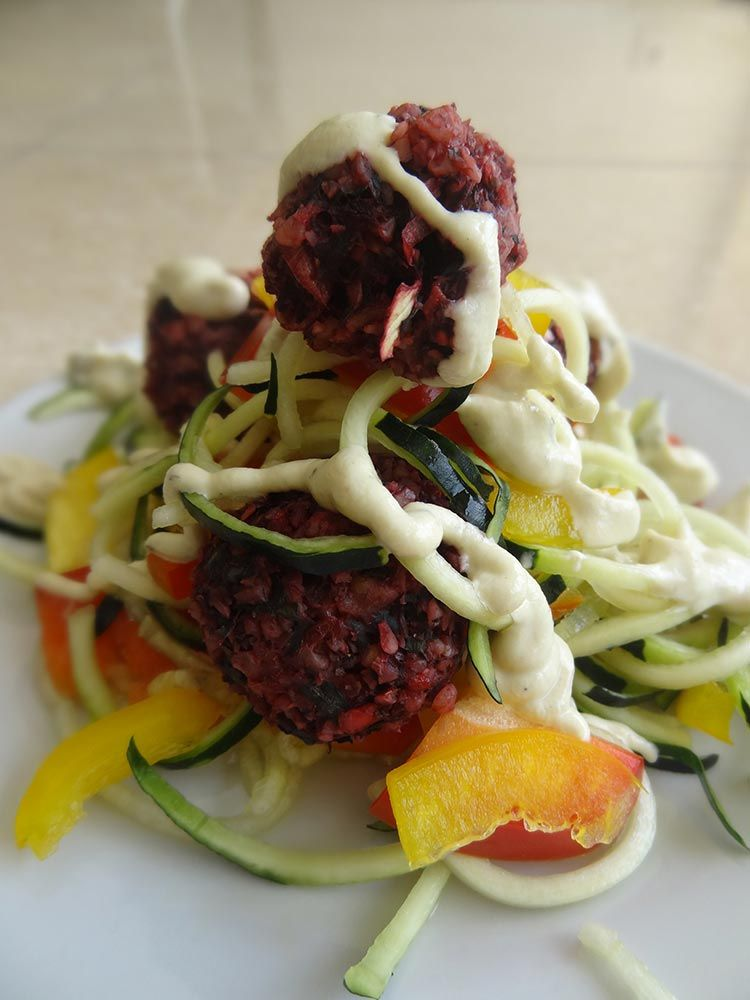 Raw Zucchini Pasta Al Fredo with Beetballs - a delicious variation and combination of a couple classic Italian dishes