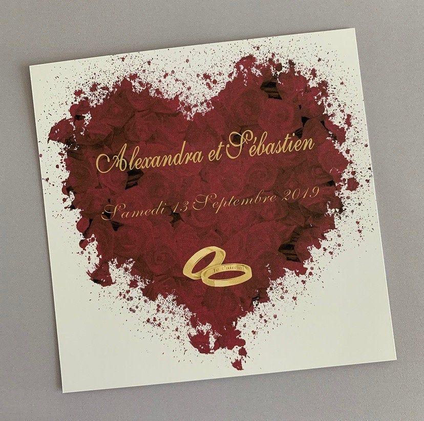 Faire-part de mariage (Bouquet de roses bordeaux, alliances…)