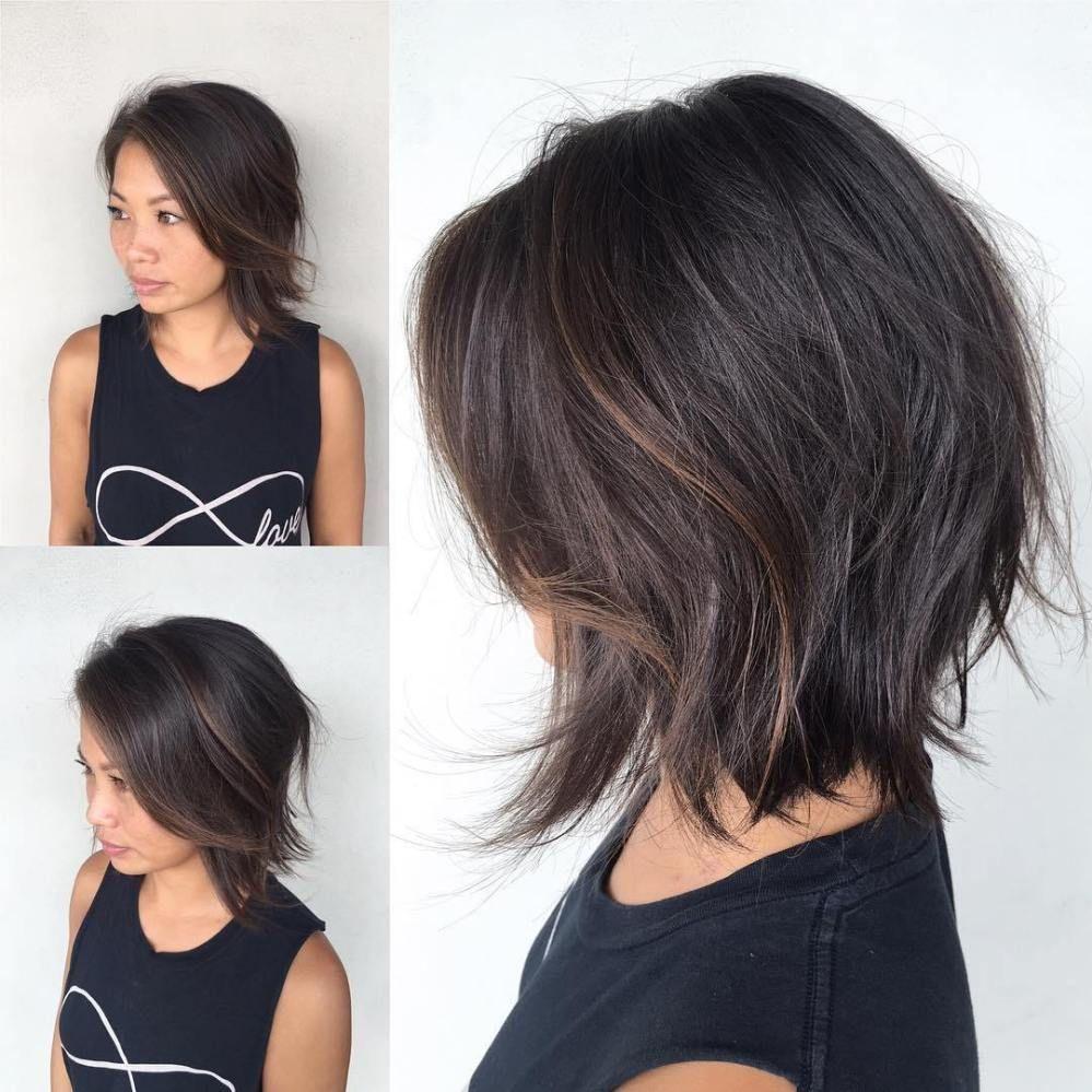 shaggy razored brunette bob hairstyles  frisuren