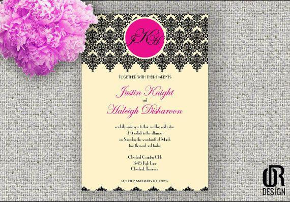 Elegant Damask Wedding Invitation | PRINTABLE DIGITAL FILE on Etsy, $9.99