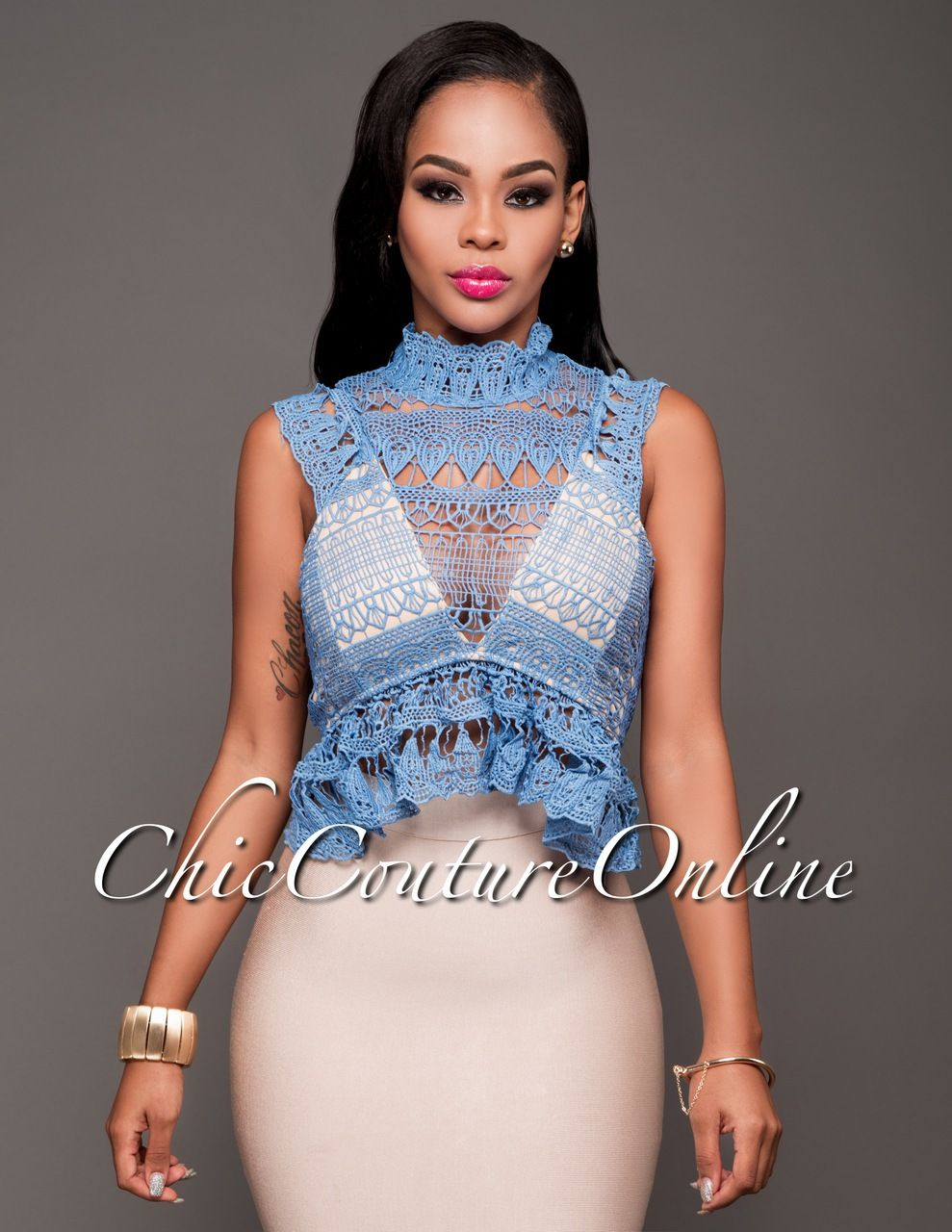 Chic Couture Online - Chicana Blue Eyelet Nude Luxe Top.(http://www.chiccoutureonline.com/chicana-blue-eyelet-nude-luxe-top/)