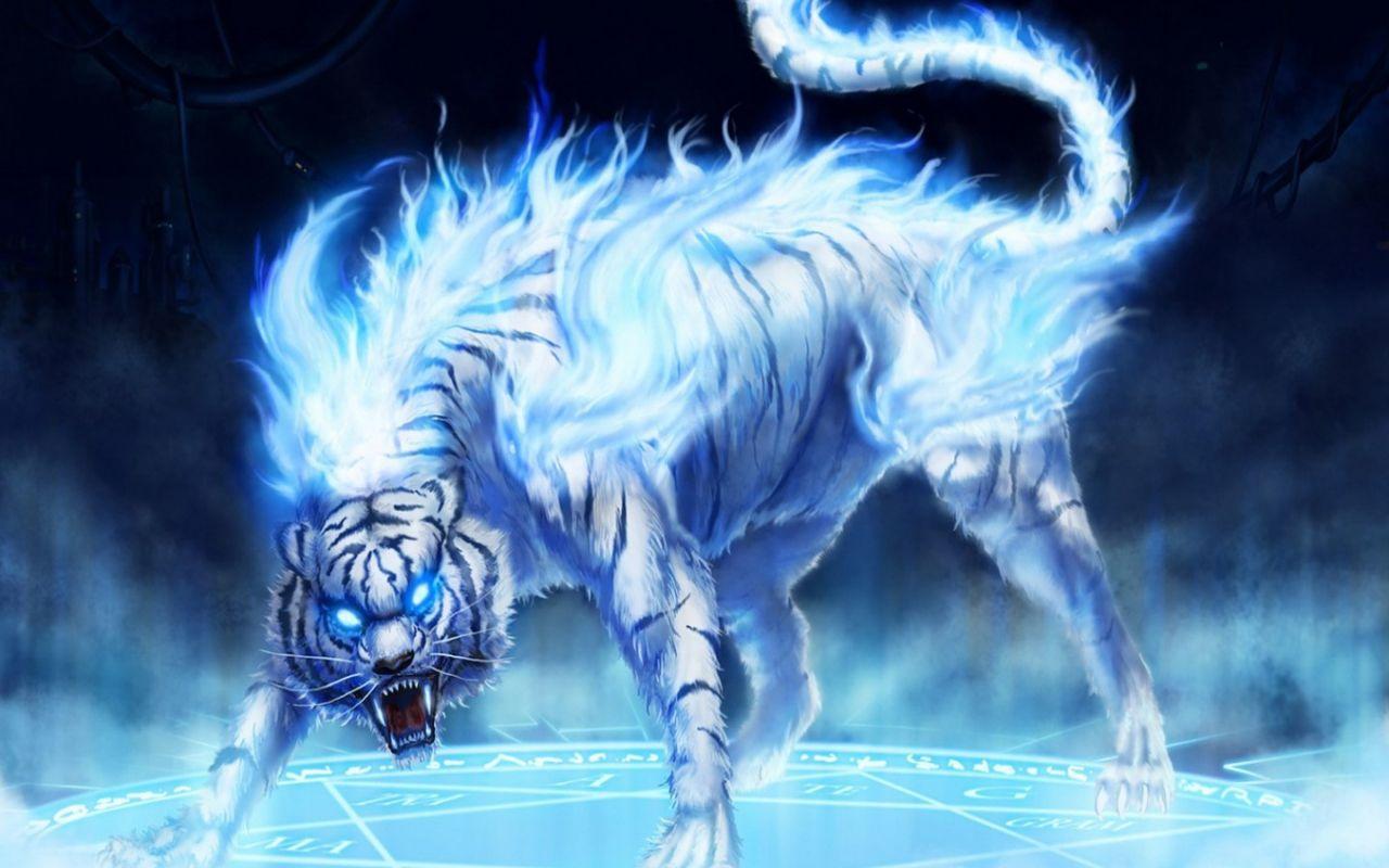 Flaming White Tiger Fantasy In 2019 Fantasy Creatures Fantasy