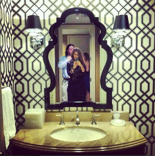 Wallpaper Jonathan Adler Queen Anne Mirror To Update My Ugly Existing Emperador Marble Vanity Powder Room