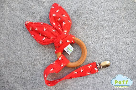 Handmade Toy Car Holder : Natural wooden teething ring with holder clip bunny by