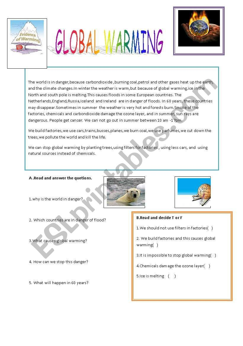This Is A Useful Worksheet For Elementary Learners Students Will Learn About Global Warming Global Warming Lesson Global Warming Climate Change Lesson [ 1169 x 821 Pixel ]