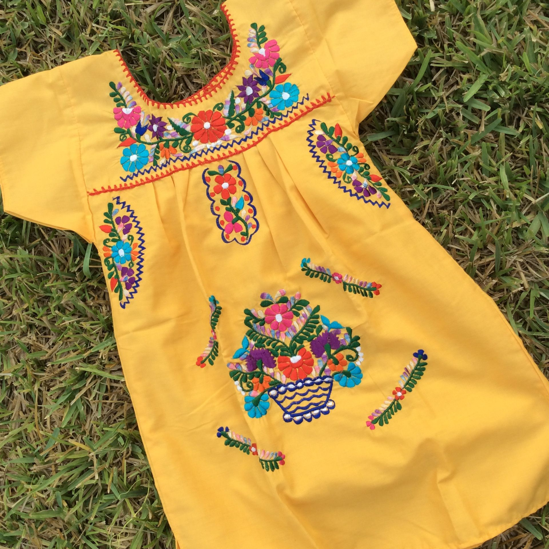 3fc0239a9f2e1 New Mexican dress for girls! Cotton blend fresh fabric with silk thread  embroidery