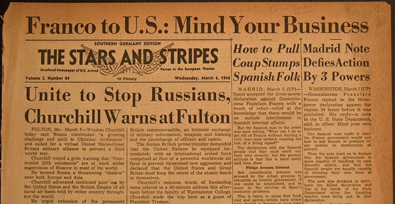 Newspaper Article From 1946 Restating The Points Winston Churchill