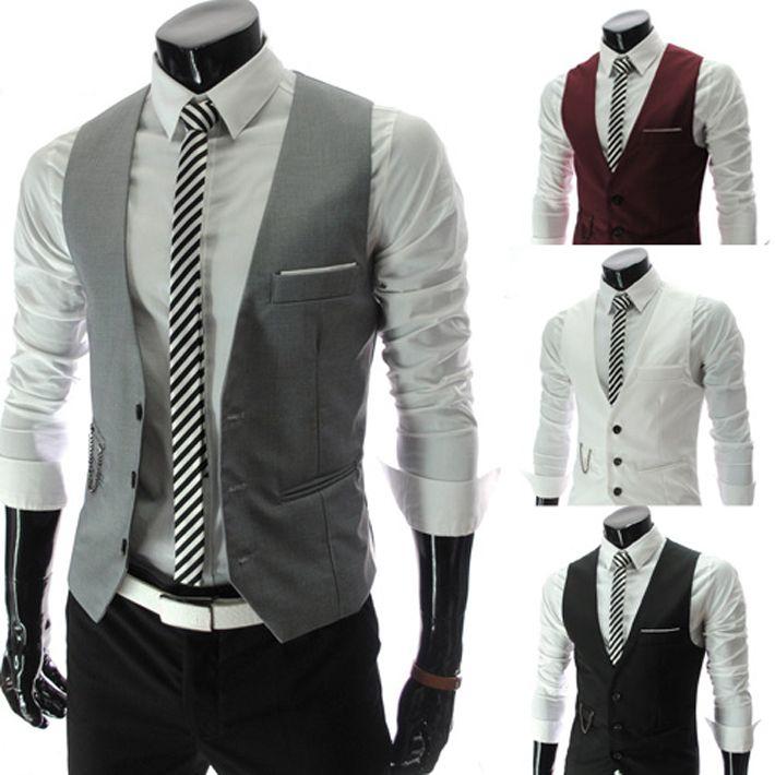 Aliexpress.com : Buy Free shipping2013 New Gentle Men Vest Men's Formal Suit  V necked vest Slim Fit Fashion 4 colors M XXL MWM151 from Reliable m…