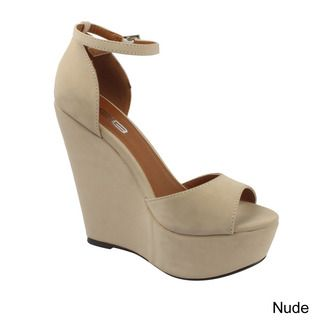 X2B Women's 'Plora-1' Ankle-strap Peep-toe Wedges | Overstock™ Shopping - Great Deals on Wedges