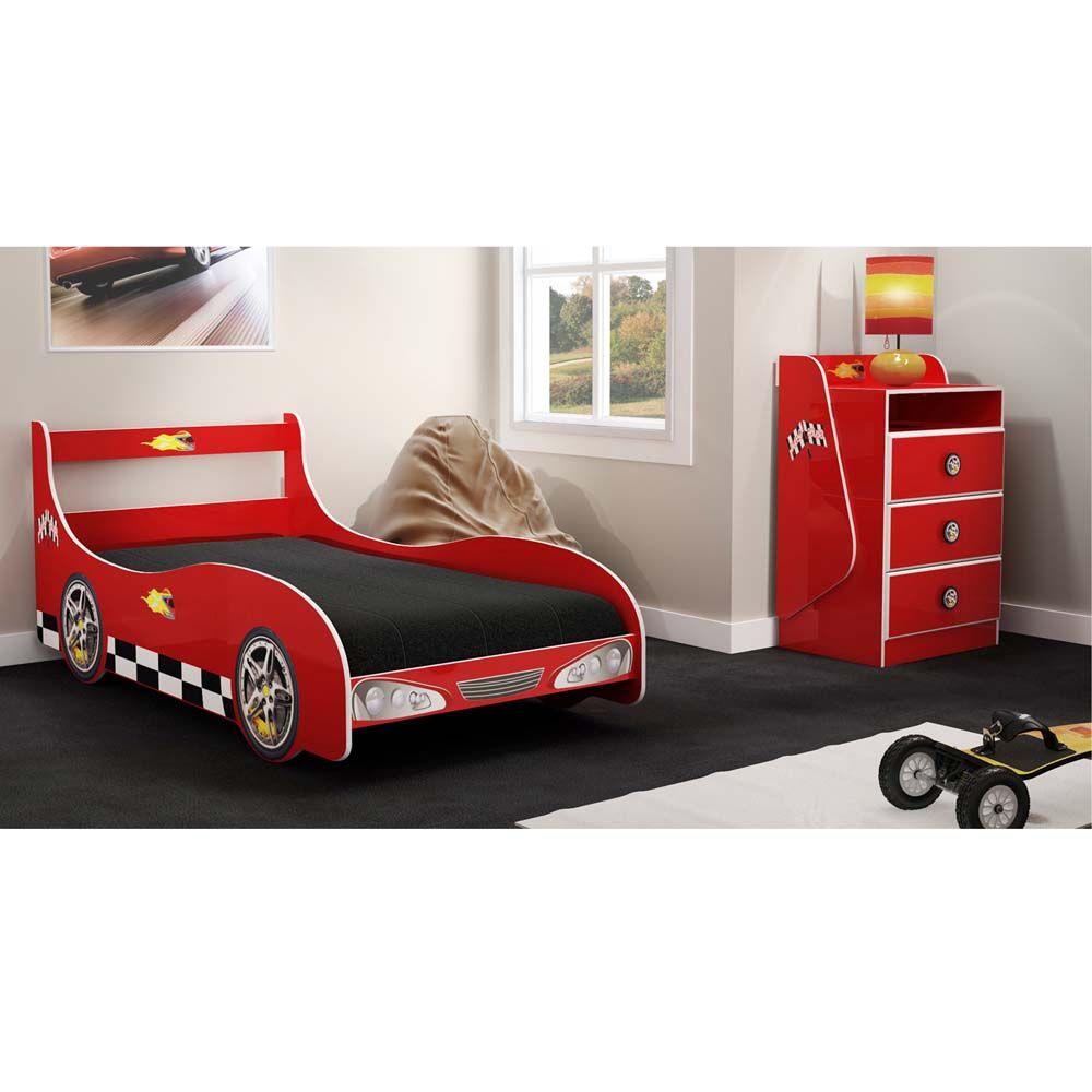 Cama infantil gelius carro rally vermelho comoda - Cama coche infantil ...