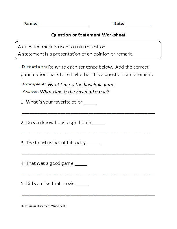 Question or Statement Question Marks Worksheet | Creative Writing ...