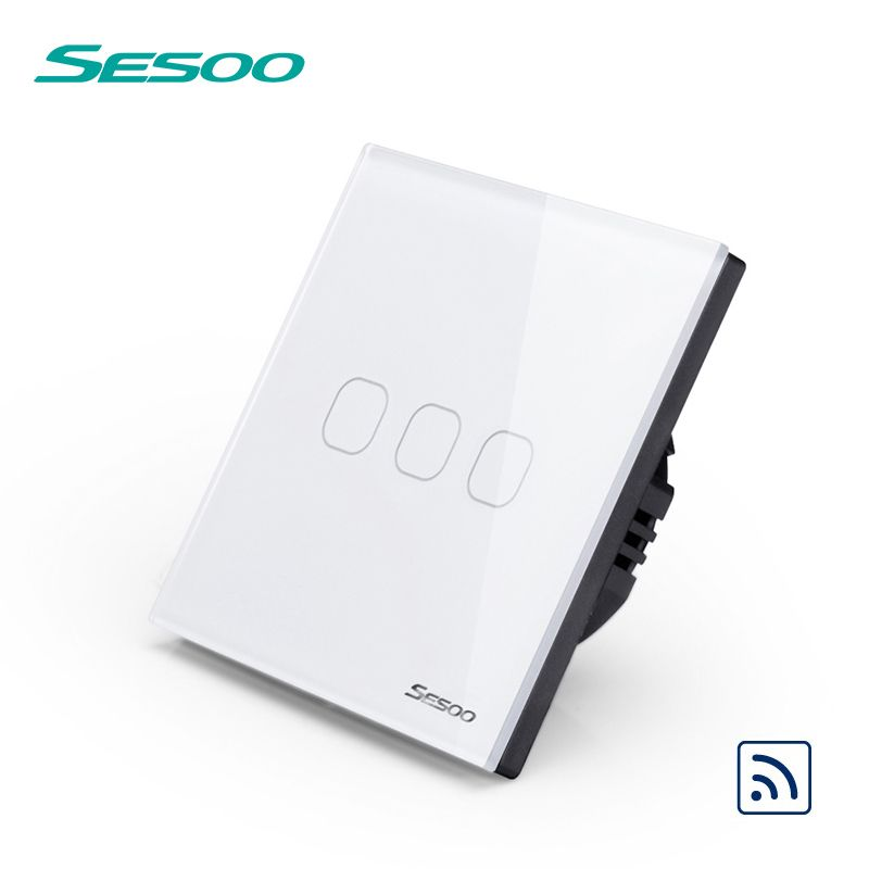 Sesoo Remote Control Switches 3 Gang 1 Way Sy2 03 White Wireless Remote Control Wall Touch Switch Crystal Glass Switch Panel