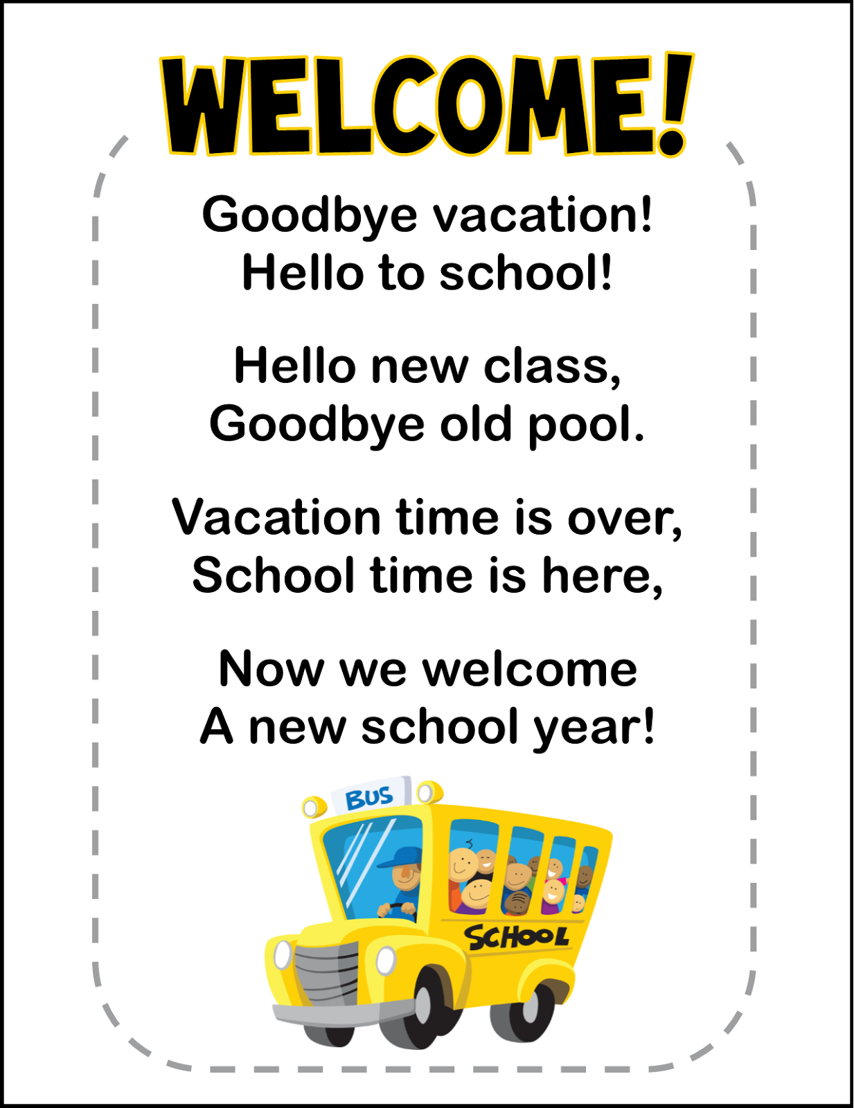 Back To School Freebie Poem Printable And Poem Cloze Activity